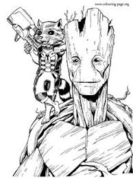 Enjoy Coloring This Free Printable Groot And Rocket Raccoon Page From The Marvel Movie Guardians Of Galaxy Just Print Out Have Fun With