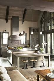 Sandy Hook Gray Kitchen Rustic With Decorative Curtain Rods