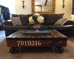 Industrial Rustic Rail Cart Coffee Table Farmhouse Style Reclaimed Wood