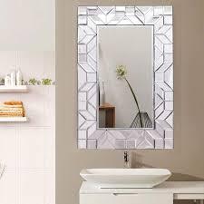 tangkula abgeschrägtes glas rechteck holzrahmen badezimmer home decor wand spiegel buy tangkula glam rectuangular design wand