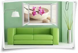 3d fenster wandbild wandtattoo aufkleber wellness spa orchidee wohnzimmer deko