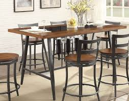 Selbyville Casual Cherry Metal Counter Height Dining Table Wine Rack