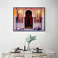 moderne kunst wand alte tor marokko leinwand malerei poster