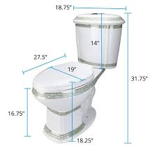 Elongated Toilet Dual Push Button TwoPiece White ADA Porcelain Green And Gold India Reserve Design Includes Elongated Slow Close Toilet Seat