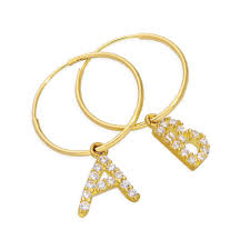 Mix N Match 9ct Gold CZ Crystal Initial Letter 13mm Charm Hoop