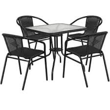 28 inch Square Glass Metal Table with Rattan Edging and 4 Rattan Stack Chairs