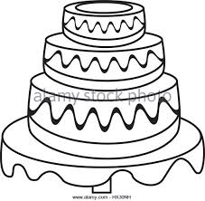 wedding cake dessert outline Stock Image