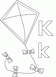 Kite In Letter K Coloring Page