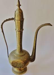tall vintage brass genie l vase tea pot by district66