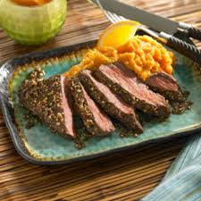 Citrus Beef Steak Cuban Style With Mashed Sweet Potatoes