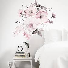 großhandel rosa weiß aquarell pfingstrose blumen wand aufkleber für kinderzimmer wohnzimmer schlafzimmer home decoration wandtattoo home decor