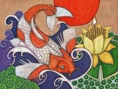 Colorful Japanese Koi Carp Fish Animal Print By Lynnette Shelley