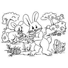 Bunnies Hunting Easter Eggs Coloring Page