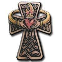 Knot Cross With Claddagh And Flame