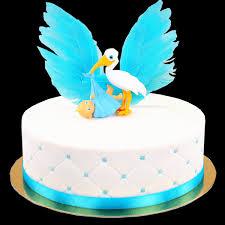 luxury storch mit baby torte blau