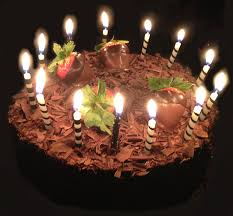 chocolate birthday cake with candles 8
