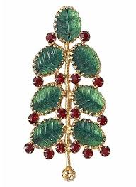 A High Quality Mid 20th Century Designer Freirich Designed This Christmas Tree Pin With Veined Glass Leaves And Red Rhinestones In The 1970s