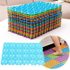 Colorful Splicing Anti Slip Mat Bathroom Massage Strong Suction