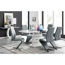 essgruppe absolon mit ausziehbarem tisch und 8 stühlen metro farbe stuhl grau