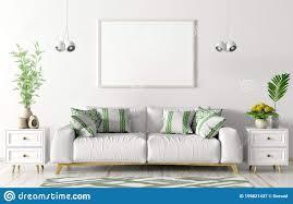 wohnzimmer mit weißem sofa zwei kommoden und leerem poster
