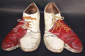 Vintage Circus Clown Cleft Camel Toe Double Shoes Red White With Bells Front View