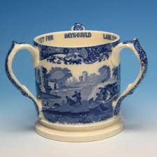 Spode Christmas Tree Village Cookie Jar by Early Copeland Spode Blue Italian Scene Large 3 Handled Love Cup