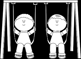Black and White Kids on a Swing Clip Art Black and White Kids on