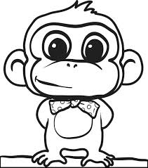 Cartoon Monkey Coloring Pages Cute Dog Cat