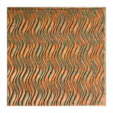 Ceilume Ceiling Tile Adhesive by Ceilume Nantucket Faux Copper 2 Ft X 2 Ft Glue Up Ceiling Tile