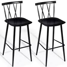 100 Modern Metal Chair COSTWAY Dining Chic Bistro Cafe Side Side For Indoor With Backrest Bar With Sturdy Construction