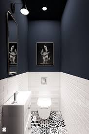 badezimmer gäste wc boden gemusterte fliesen schwarz weiß