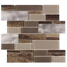 American Olean Mosaic Tile Colors by Allen Roth Laser Contempo Beige Mixed Material Glass And Metal
