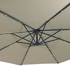 Solar Lighted Patio Umbrella by 10 Aluminum Solar Lighted Offset Patio Umbrella With Base Home