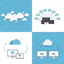 100 Flat Cloud Cloud Computing Vector Illustration Templates Set Of Four