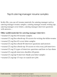 Top 8 Catering Manager Resume Samples In This File You Can Ref Materials For