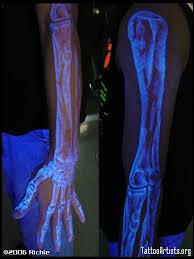 Arm Skeleton White Ink Tattoo Under Black Light