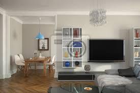 fototapete moderne eingerichtete altbauwohnung mit wohnzimmer und esszimmer