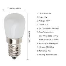 2pcs e14 3w 220v refrigerator led light bulb mini bright l for