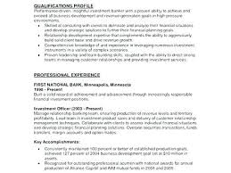 Banker Resume Objective Personal Resumes Examples Banking