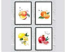 Fruit Prints Set 4 Kitchen Art Decor Poster Food Four