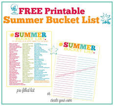 FREE Printable Summer Bucket List 100 Fun Things To Do