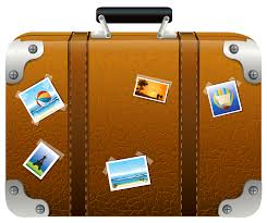 Brown Suitcase With Pictures PNG Clipart Picture