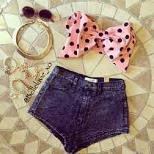 Top Bows Pink Girly Sunglasses Denim Shorts Fashion Cute Summer Outfits Beach Teenagers Kawaii Polka Dots