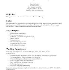 Resume Objective For Waitress Server Food Job Skills To