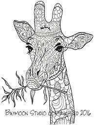 Giraffe Eating Coloring Page Printable Pages Adult Hand Drawn