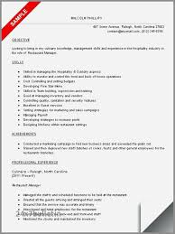 Resume Examples For Restaurant Manager Best Of Skills New Dance Example Catering