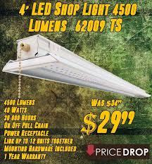 4 4500 Lumen LED Shop Lights ly $29 99