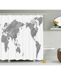 Map Shower Curtain Sketchy Continents Print For Bathroom