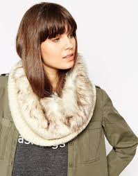 urbancode faux fur and knit mix infinity scarf in brown lyst
