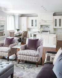 All White Kitchen And A Purple Family Room Look So Airy Inviting